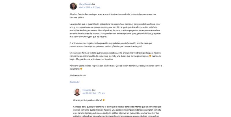 Respuesta de Fernando en su artículo como invitado en ACA